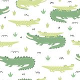 与逗人喜爱的鳄鱼的无缝的样式 皇族释放例证