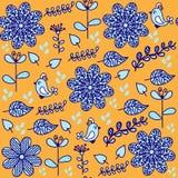 与逗人喜爱的鸟和无缝的轻拍的明亮的花卉无缝的样式 库存图片