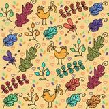 与逗人喜爱的鸟和无缝的pa的五颜六色的花卉无缝的样式 免版税图库摄影