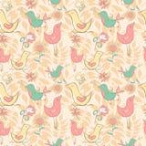 与逗人喜爱的鸟和花的无缝的样式在蜂蜜backgr 免版税库存照片
