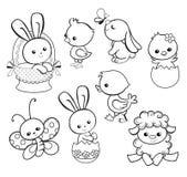 与逗人喜爱的鸡,兔宝宝,鸭子,羊羔的愉快的复活节假日例证 免版税库存照片