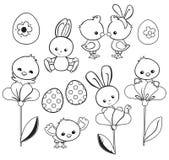 与逗人喜爱的鸡,兔宝宝,鸭子,羊羔的愉快的复活节假日例证 库存照片