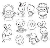 与逗人喜爱的鸡,兔宝宝,鸭子,羊羔的愉快的复活节假日例证 库存图片