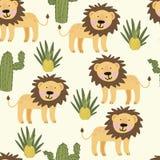 与逗人喜爱的黄色狮子的无缝的样式 免版税图库摄影
