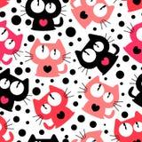 与逗人喜爱的滑稽的动画片猫的无缝的样式 向量例证