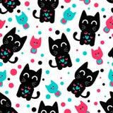 与逗人喜爱的滑稽的小猫的无缝的样式 免版税库存图片