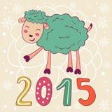 2015与逗人喜爱的滑稽的绵羊的卡片 库存图片