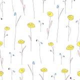 与逗人喜爱的黄色花的无缝的样式 与风格化乱画玫瑰的白色背景 图库摄影