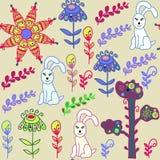 与逗人喜爱的bunnyes和无缝的样式的动物无缝的样式 免版税图库摄影