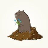 与逗人喜爱的groundhog的愉快的挖土日设计 库存照片