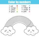 与逗人喜爱的kawaii彩虹的着色页 由数字的颜色 库存图片