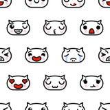与逗人喜爱的kawaii emoji小猫的无缝的样式导航动画片例证 库存例证
