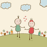与逗人喜爱的kiddish动画片突然行动的愉快的情人节庆祝 向量例证