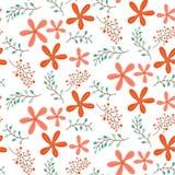 与逗人喜爱红色花卉无缝的样式 免版税图库摄影