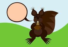 与通信泡影的布朗灰鼠 免版税图库摄影