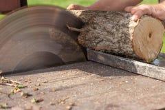 与通报锯的木材加工没有保护 库存照片