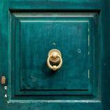 与通道门环的黑暗的木门盘区 库存图片