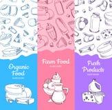 与速写的牛奶店物品的传染媒介垂直的横幅 向量例证