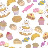 与速写的甜点的无缝的样式 库存例证