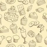 与速写的甜点的无缝的样式 皇族释放例证