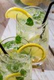 与造币厂的叶子的冷柠檬饮料 图库摄影