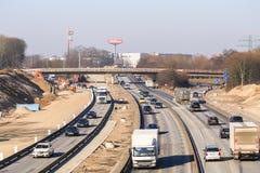 与道路工程的高速公路连接点在汉堡 免版税库存照片