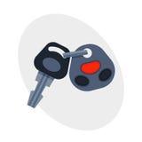 与遥控汽车安全锁的汽车钥匙和新警报的运输打开对象汽车无线技术 库存例证