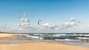 与遥远的kiteboarder的波儿地克的海滩在波浪 免版税库存照片