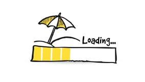 与遮阳伞的上载的,下载的,装载的状态栏和海滩,夏天概念,动画 皇族释放例证