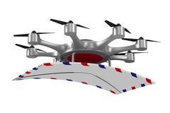 与邮件的Octocopter在白色背景 被隔绝的3d illustrati 库存照片