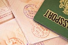 与邮票的护照页 库存照片
