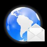 与邮件传染媒介例证的地球 免版税库存图片