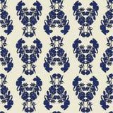 与郁金香、鸦片和百合的无缝的花卉样式 在蓝色,黑和奶油色的复杂传染媒介印刷品 库存例证