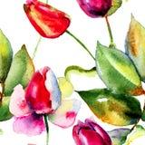 与郁金香和玫瑰的水彩例证 免版税库存照片