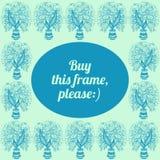 与郁金香图画的框架在罐的 免版税库存照片