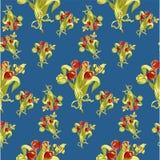 与郁金香抽象花的无缝的样式在蓝色 免版税库存照片