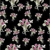 与郁金香抽象花的无缝的样式在黑色 免版税库存图片