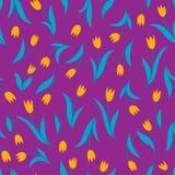与郁金香的传染媒介无缝的样式在紫罗兰 库存例证