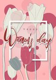 与郁金香的愉快的妇女的天 库存图片