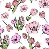 与郁金香的抽象植物的无缝的纹理 向量例证