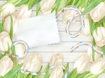 与郁金香的纸牌 10 eps 库存照片