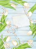 与郁金香的纸牌 10 eps 免版税库存图片