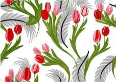 与郁金香的花纹花样 库存图片
