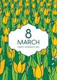 与郁金香的贺卡,垂直格式 国际Women's天 3月8日 免版税库存图片