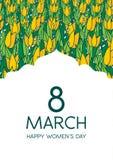 与郁金香的贺卡,垂直格式 国际Women's天 3月8日 库存照片