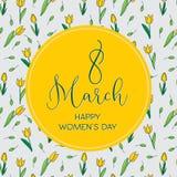 与郁金香的贺卡,垂直格式 国际Women's天 3月8日 免版税库存照片