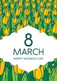 与郁金香的贺卡,垂直格式 国际Women's天 3月8日 免版税图库摄影