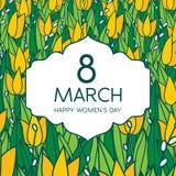 与郁金香的贺卡,方形的格式 国际Women's天 3月8日 免版税库存图片