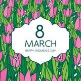 与郁金香的贺卡,方形的格式 国际Women's天 3月8日 库存照片