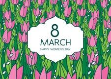 与郁金香的贺卡,横向格式 国际Women's天 3月8日 免版税库存照片